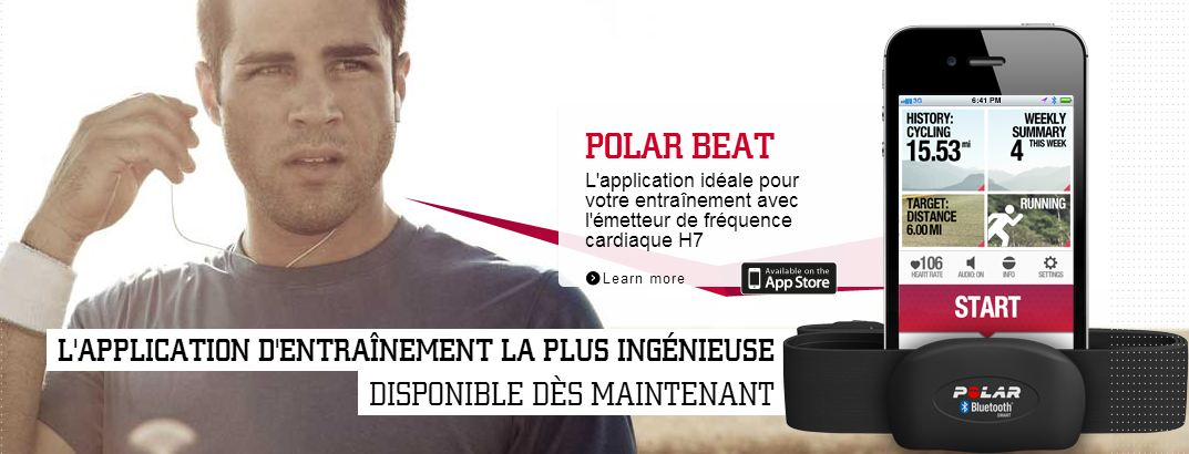 Zoom sur l'application POLAR BEAT