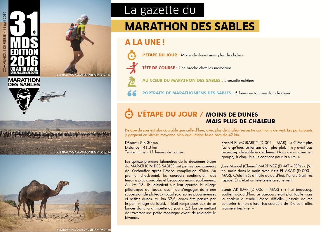 la Gazette du MARATHON DES SABLES – 11 avril‏