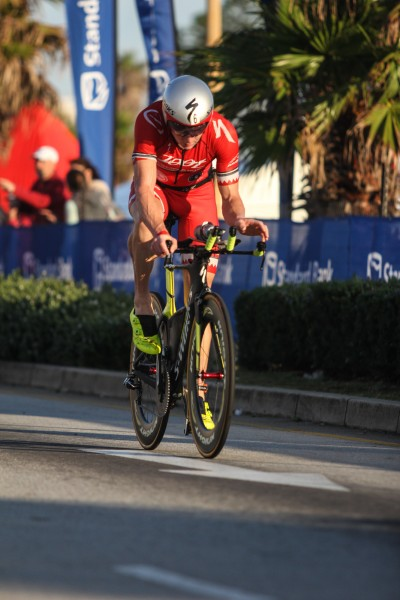 """PORT ELIZABETH, SOUTH AFRICA - APRIL 10: In this handout image provided by Ironman Ben Hoffman in action during the Standard Bank IRONMAN African Championship at Nelson Mandela Bay, Port Elizabeth on April 10th, 2016 in Port Elizabeth, South Africa. (Photo by Craig Muller/IRONMAN via Getty Images)"""