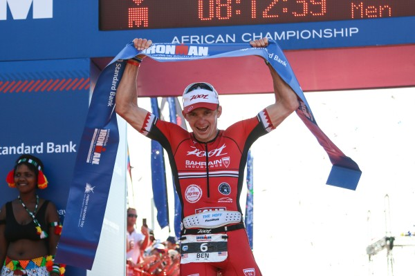 """PORT ELIZABETH, SOUTH AFRICA - APRIL 10: In this handout image provided by Ironman Ben Hoffman wins the men's event during the Standard Bank IRONMAN African Championship at Nelson Mandela Bay, Port Elizabeth on April 10th, 2016 in Port Elizabeth, South Africa. (Photo by Craig Muller/IRONMAN via Getty Images)"""