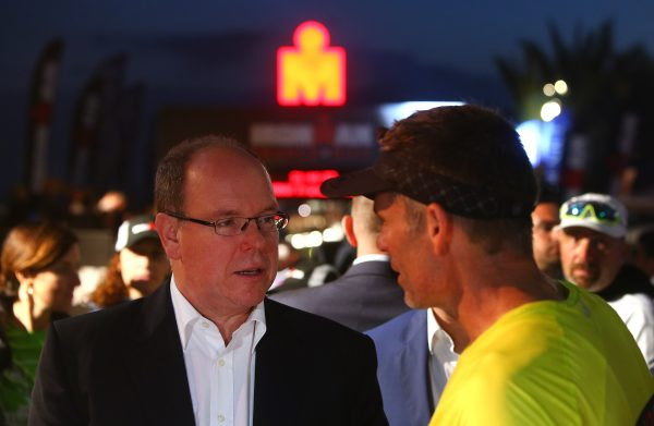 NICE, FRANCE - JUNE 05:  Prince Albert of Monaco (R) chats with Christophe Santini during the Ironman France on June 05, 2016 in Nice, France. (Photo by Charlie Crowhurst/Getty Images for Ironman) *** Local Caption ***  Prince Albert of Monaco; Christophe Santini