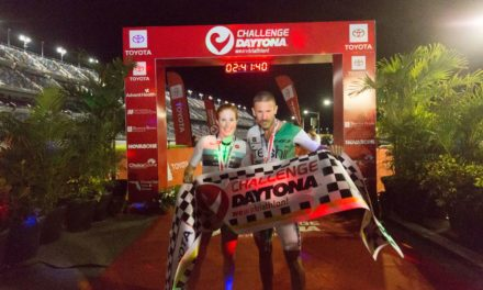 Spectacular Canadian victories at CHALLENGEDAYTONA: Lionel Sanders and Paula Findlay celebrating magnificent race