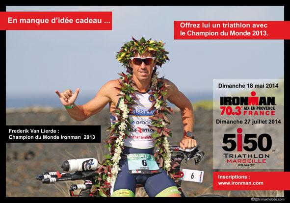 Besoin d'une idée cadeau triathlon: Offrez un dossard avec le champion du Monde à Aix ou Marseille
