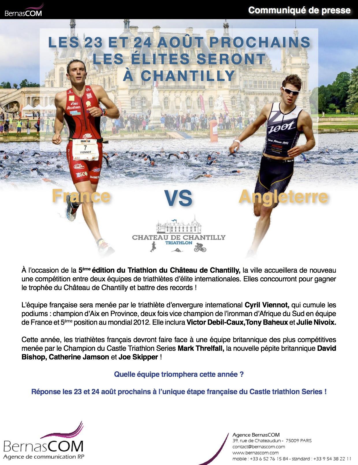 Ce weekend les elites seront aux Triathlon du Château de Chantilly!