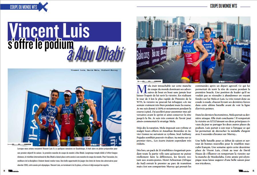 A lire dans TrimaX#139 : Vincent Luis s'offre le podiumà Abu Dhabi