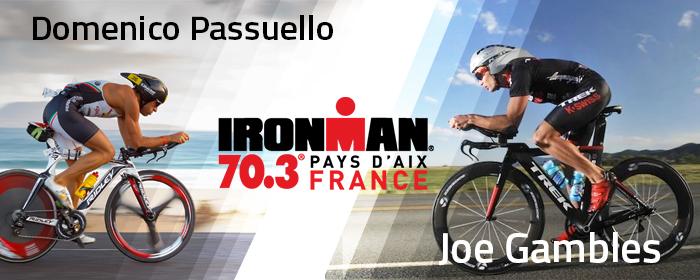 Joe Gambles et Domenico Passuello au départ de l'IRONMAN 70.3 Pays d'Aix