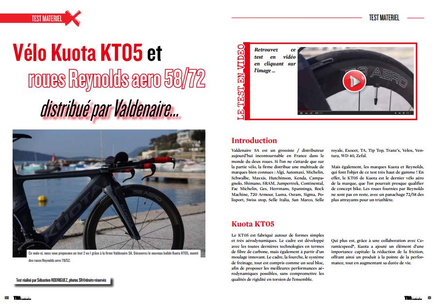 Découvrez dans TrimaX#139 le  Vélo Kuota KT05 et les roues Reynolds aero 58/72