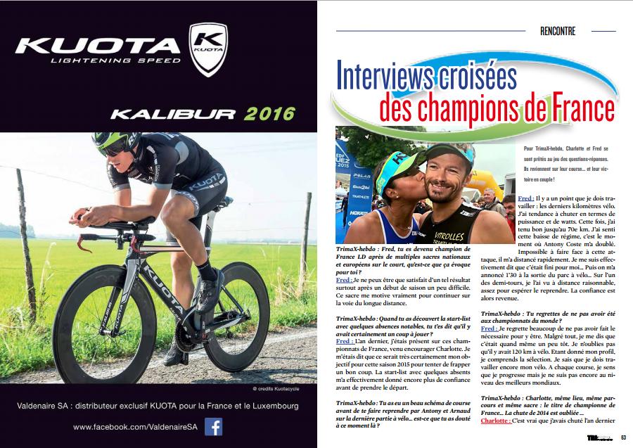 Interviews croisées des champions de France à lire dans TrimaX#143