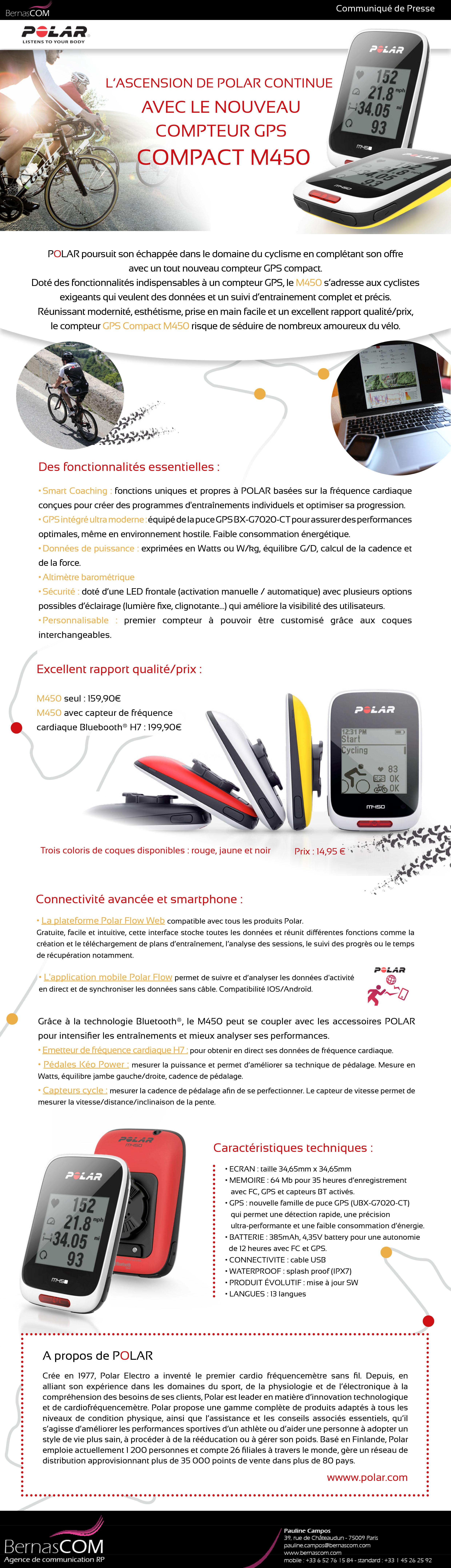 POLAR innove avec son compteur GPS COMPACT M450 !