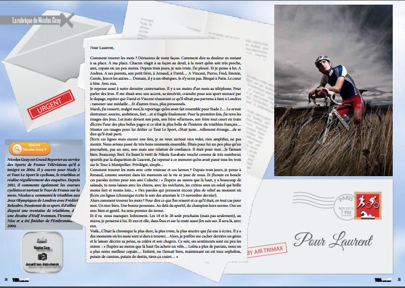 A lire dans TrimaX#147 la rubrique de Nicolas Geay dédié à Laurent