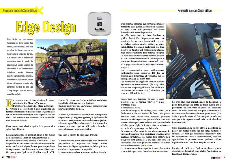 A découvrir dans TrimaX#148 la nouveauté matos de Simon Billeau : le Edge Design