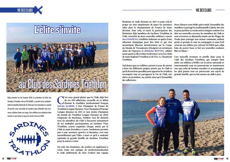 A lire dans TrimaX#149 : l'élite s'invite au Club des Sardines Triathlon
