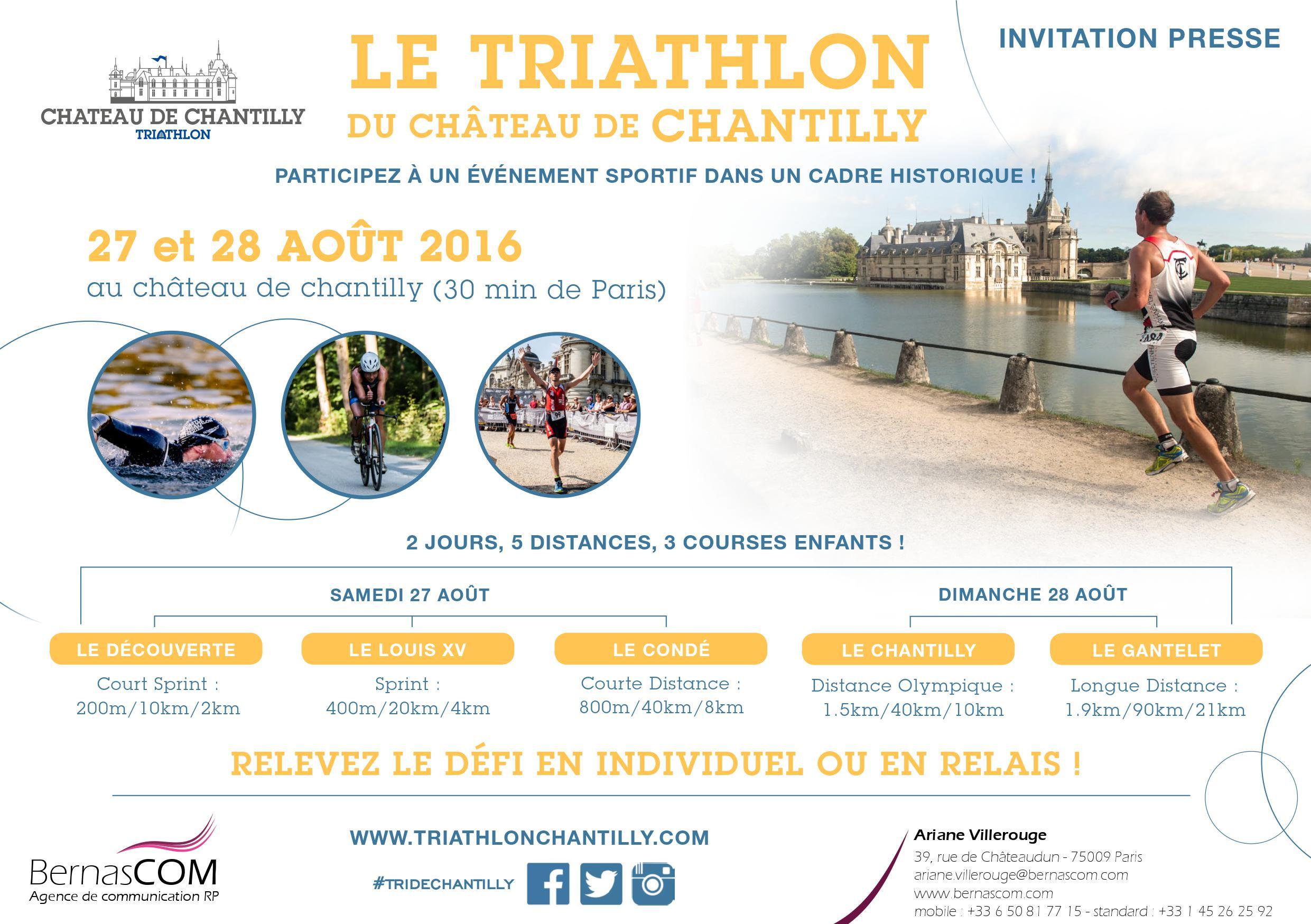 Triathlon de Chantilly les 27 et 28 Août 2016 !