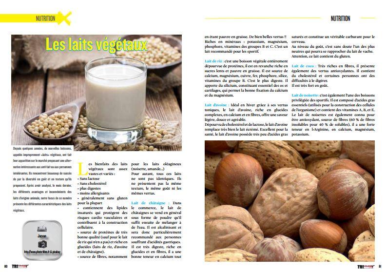 Trimax#150 consacre sa rubrique nutrition aux laits végétaux