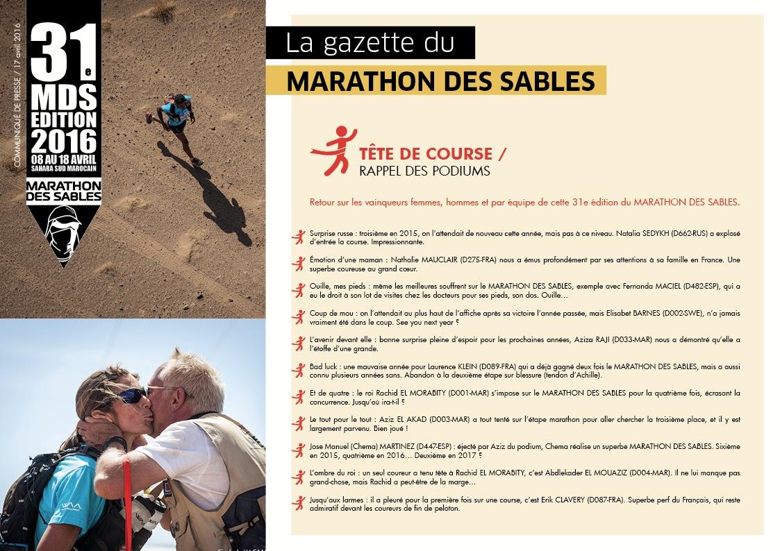 LA GAZETTE DU MARATHON DES SABLES – 17 avril – rappel des podiums