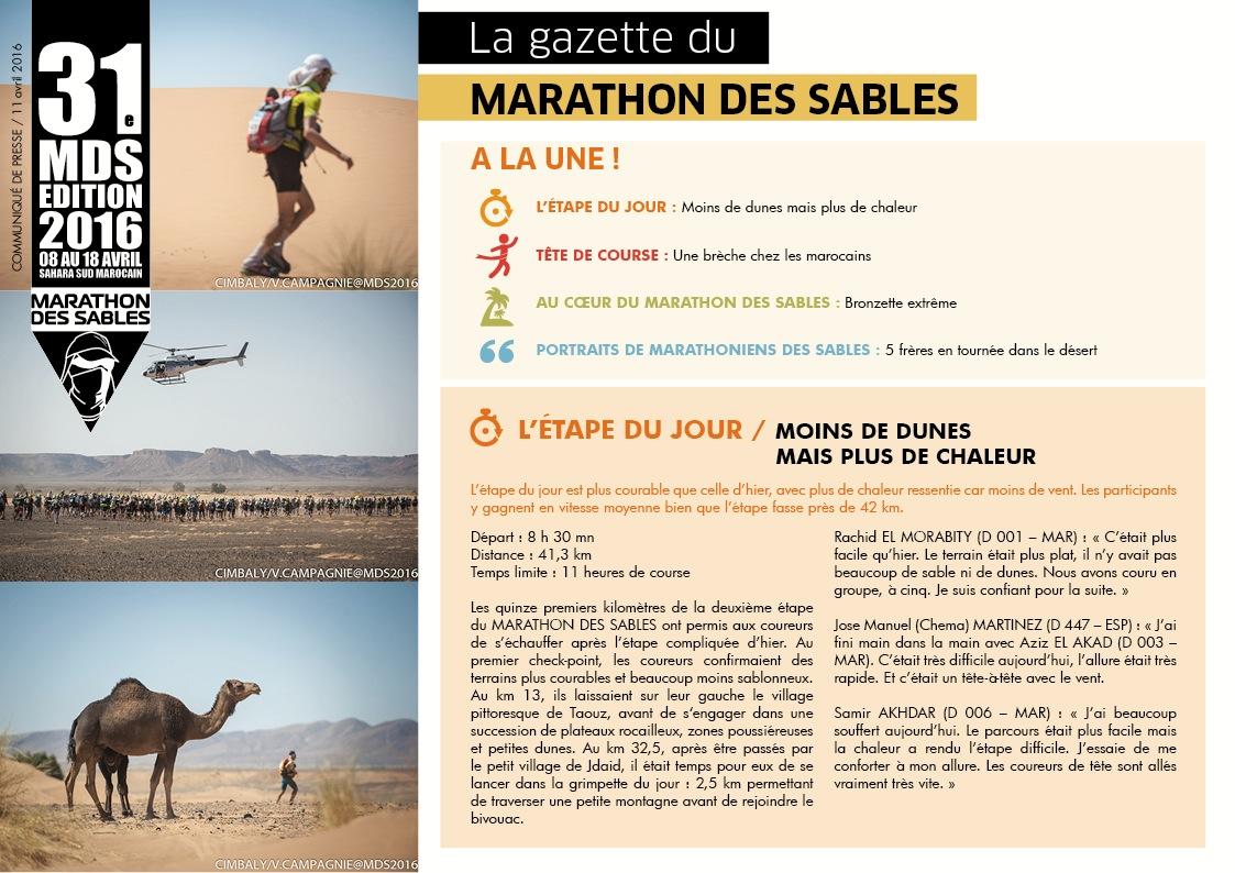 la Gazette du MARATHON DES SABLES – 11 avril