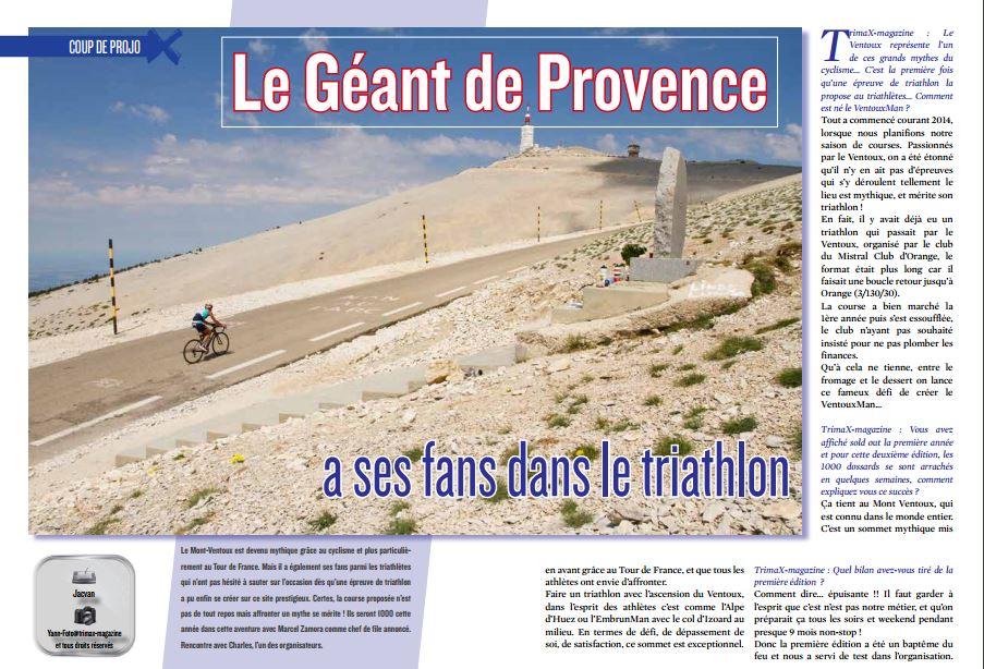 A lire dans TrimaX#151 : Le Géant de Provence a ses fans dans le triathlon