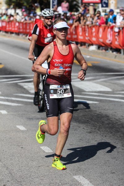 """""""PORT ELIZABETH, SOUTH AFRICA - APRIL 10: In this handout image provided by Ironman Susie Cheetham in action during the Standard Bank IRONMAN African Championship at Nelson Mandela Bay, Port Elizabeth on April 10th, 2016 in Port Elizabeth, South Africa. (Photo by Craig Muller/IRONMAN via Getty Images)"""""""