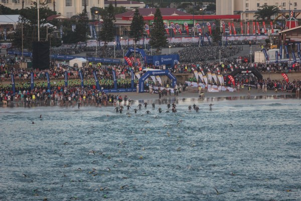 """""""PORT ELIZABETH, SOUTH AFRICA - APRIL 10: In this handout image provided by Ironman a general view of the swim start during the Standard Bank IRONMAN African Championship at Nelson Mandela Bay, Port Elizabeth on April 10th, 2016 in Port Elizabeth, South Africa. (Photo by Craig Muller/IRONMAN via Getty Images)"""""""