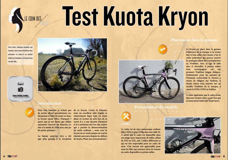 Dans le coin des filles de TrimaX#151 découvrez le test Kuota Kryon