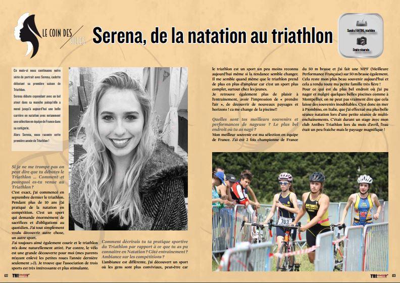 A la rencontre de Serena, de la natation au triathlon, dans TrimaX#153