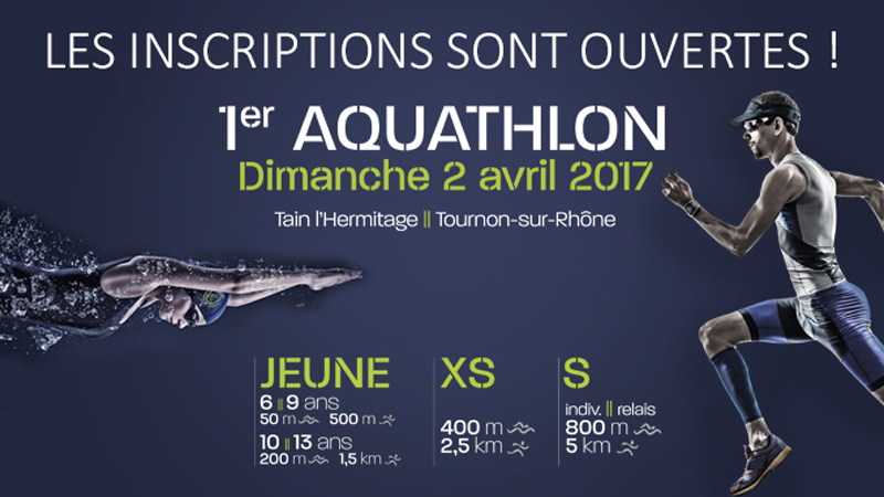 Dimanche 2 avril : Le club Hermitage Tournonais organise son 1er Aquathlon !