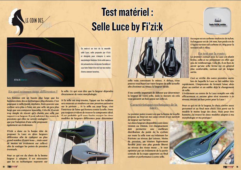 Ce mois-ci TrimaX#64 dans le coin des filles vous parle de la Selle Luce by Fi'zi:k